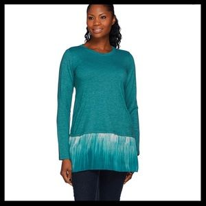 LOGO Lounge French Terry Top w/ Ombre Chiffon Hem